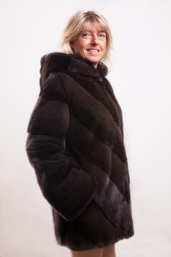"Long Mink Coat Colour ""Sable"" with Hood"