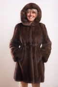 Brown Glow Mink Coat with Hood signed Balli Furs