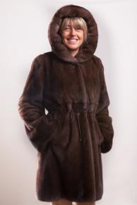 Brown Glow Mink Coat with Hood signed Balli Furs
