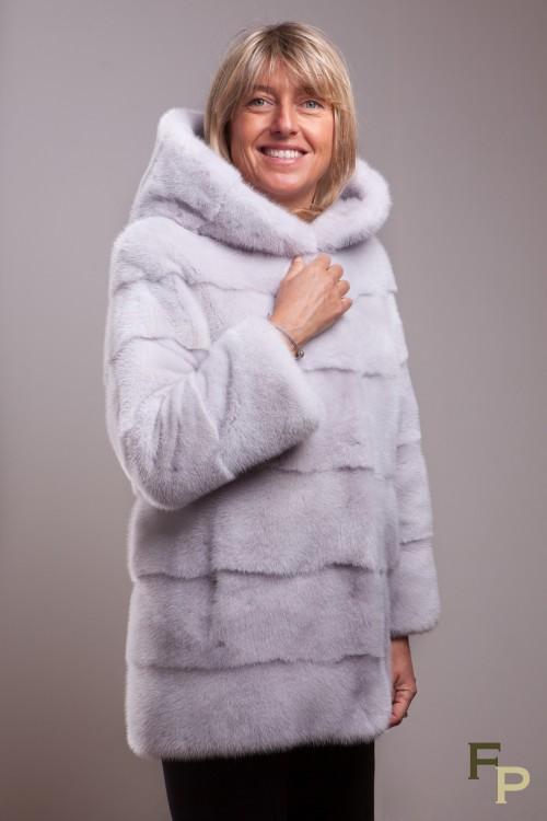 Veste de vison silver grey à capuche