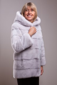 Silver Grey Mink Coat with Hood signed Casiani