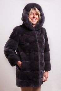 Titanium Mink Coatwith Hood signed Casiani