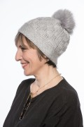 Black Cap with Fox Fur Pompom