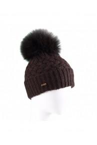 Brown Woolen Cap with Fox Fur Pompom