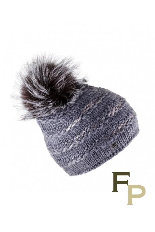"Grey Woolen Cap ""Lux"" with Finn Raccoon Fur Pompom"