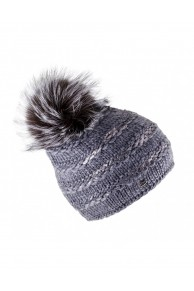 "Grey Woolen Cap ""Lux"" with Finn Raccoon Fur Pompom"