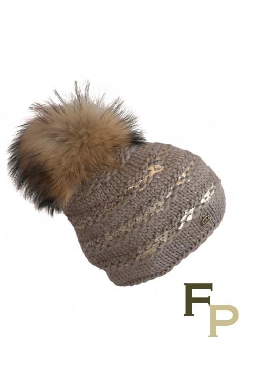 """Beige Woolen Cap """"Lux"""" with Finn Raccoon Fur Pompom"""