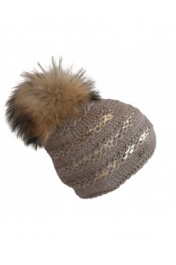 "Beige Woolen Cap ""Lux"" with Finn Raccoon Fur Pompom"