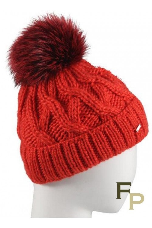 "Red Woolen Cap ""Courchevel"" and Fox Fur Tassel"