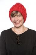 """Bonnet """"Courchevel""""  Rouge avec Pompon de Renard"""