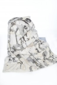 Blanket in White & Grey Long Hair Rabbit