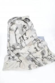 Plaid Blanc/Gris en Fourrure de Lapin Long Hair