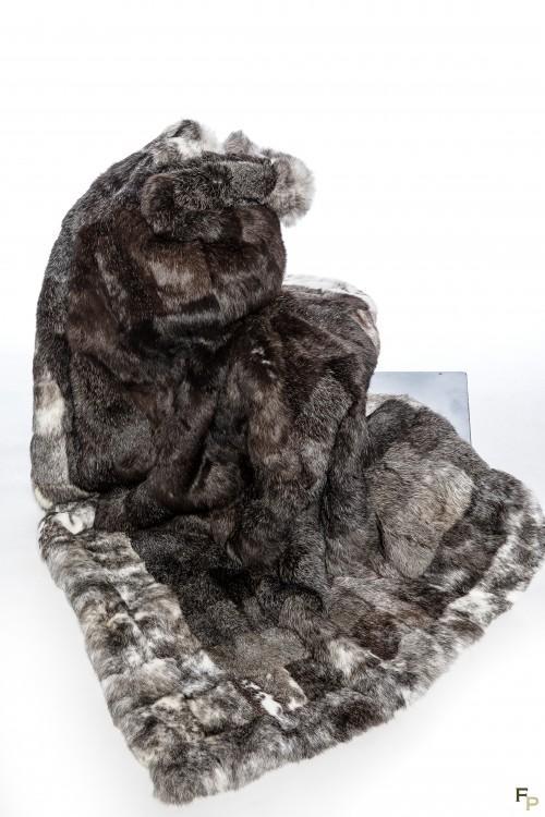 Blanket in Grey & Black Long Hair Rabbit