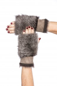 Mittens in Brown Toscano Lamb Fur