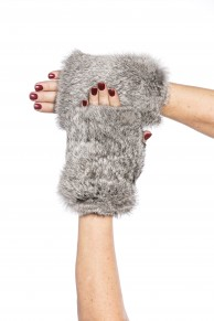 Mittens in Grey Rabbit Fur & Leather