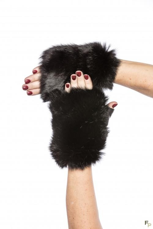 Mittens in Grey Rabbit Fur & Leather