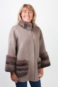 Dark Grey Woolen Coat and Rex Rabbit Fur