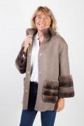 Manteau en Laine Gris Foncé et Fourrure de Rex Rabbit