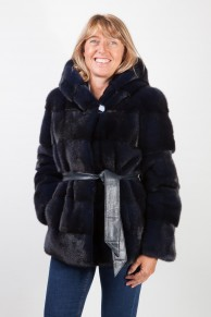 Navy Blue Mink Jacket with Hood & Leather Belt
