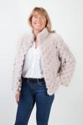 Veste de Vison à Damiers Beige/Rosé