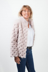 "Grey ""Checkered"" Mink Jacket"