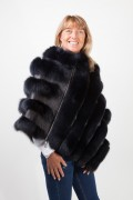 Navy Blue Leather Poncho and Fox Fur by Casiani