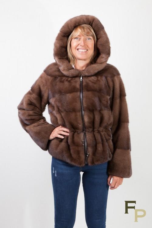 Brown Glow Mink Jacket with Hood signed Balli Furs