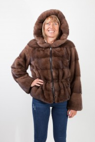 Brown Glow Mink Jacket with Hood signed Balli Furs
