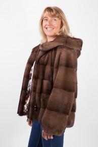 Brown Glow Mink Jacket with Hood