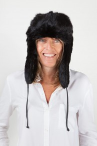 Black Rabbit Ear-Flap Fur Hat
