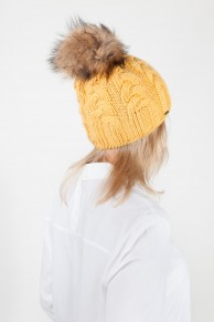 "Wool Hat With Pompom in Fox Fur ""Mustard"" Colour"