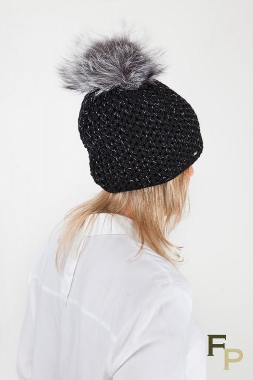 Black Wool Cap with Fox Fur Pompom