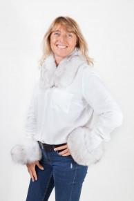 Cuff and Collar Set in White Fox