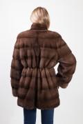 Manteau de Vison Marron avec Ceinture Intégrée