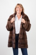 Bown Mink Coat with Integrated Belt