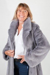 Crossover Coat in Gray Mink Fur