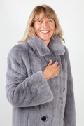 Manteau de Vison Croisé Gris Silver