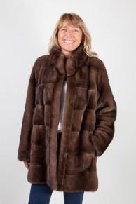 Manteau de Vison Droit Marron