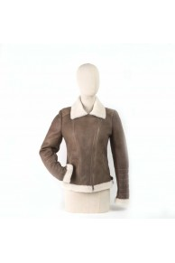 Bomber in Leather and Shearling Merino