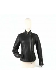 Black Merino Lamb & Leather Jacket for Woman