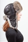 Brown Shapka with Natural Rabbit Fur and Leather