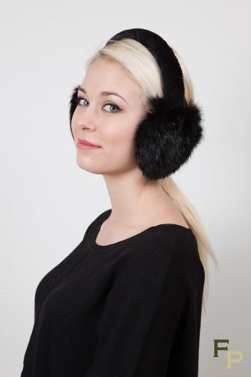 Ear Muff in Black Rex Rabbit fur
