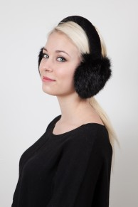 Ear Muff in Black Rex Rabbit fur