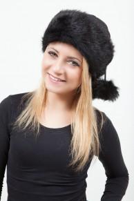 Black Tuscan Lambskin & Velours Leather Hat