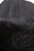 Chapeau en Agneau de Toscane Noir et Velours de Cuir