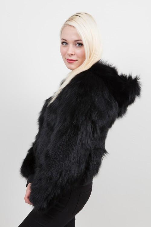 Blouson de Renard Noir Versace