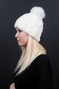bonnet en laine écru et pompon de renard