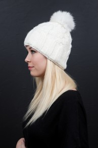 wool cap with pompom in fox fur