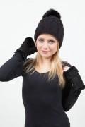 "Black Wool Cap ""St Moritz"" with Fox Tassel"