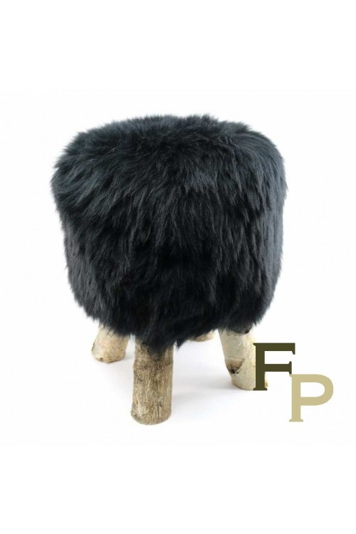 Stool with Icelandic Black Sheepskin